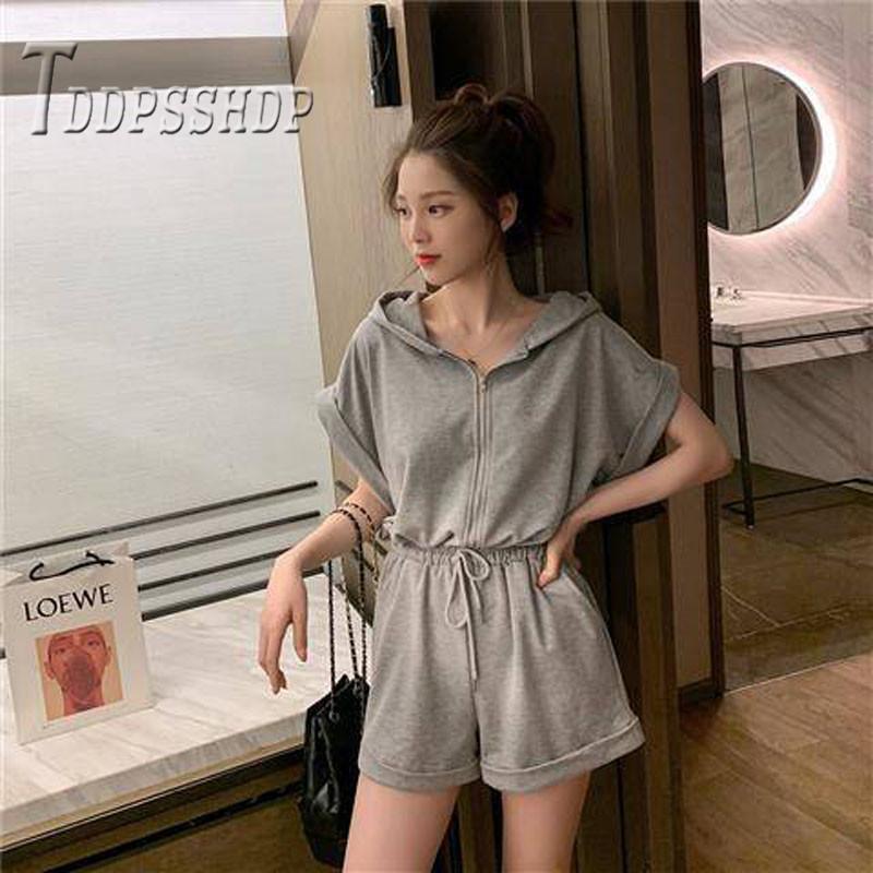 2019 Summer Korean Women Jumpsuit Grey and Black Color Female Playsuit
