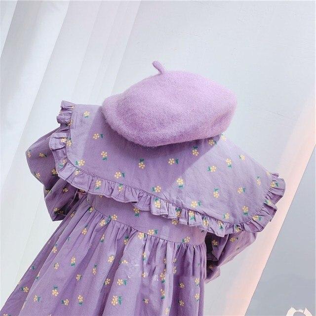 2020 Autumn New Arrival Girls Long Sleeve Princess Dress Kids Cotton Floral Dresses 4