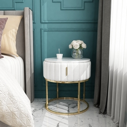 Modern simple light luxury small family bedroom marble round bedside table table living room sofa corner