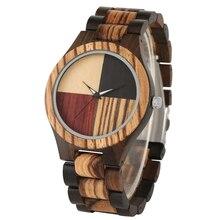 New Arrival 4 Splice Color Dial Full Wooden Watch Male Folding Clasp Quartz