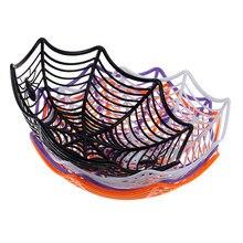 Cesta de caramelos de tela araña de Halloween, cuenco de naranja dulce negro, caja plástica para dulces araña de Halloween, decoración Web, suministros de fiesta, herramienta