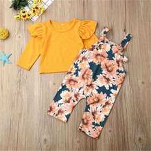 0-2 Years Baby Girl Clothes Yellow Top With Long Sleeves And Floral Trousers With Suspenders Children's Clothing Sets light grey top with stripe and long sleeves