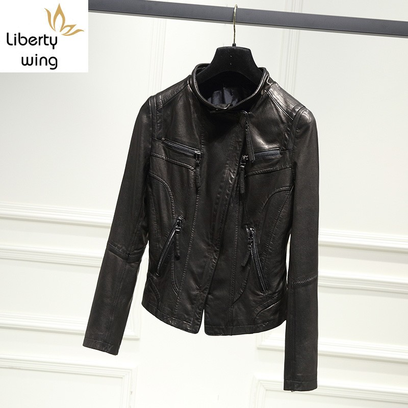 Luxury Women 100% Sheepskin Natural Slim FIt Short Bikers Windproof Coat Casual Punk Genuine Leather Jacket 4XL
