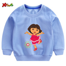 2T-8T Sweatshirts Kids Cotton Autumn Clothes Funny Top Shirt White Comfort Toddler Dora Explorer