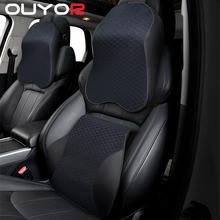 3D z pianki Memory poduszka pod szyję do samochodu PU skórzane poduszka do auta talia poduszka wypoczynkowa oparcie siedzenia odpoczynku poduszka lędźwiowa na akcesoria samochodowe tanie tanio OUYORCAR CN (pochodzenie) Bawełna pamięci PU Leather Car Pillow Lumbar support for office chair Seat cushions Car neck pillow