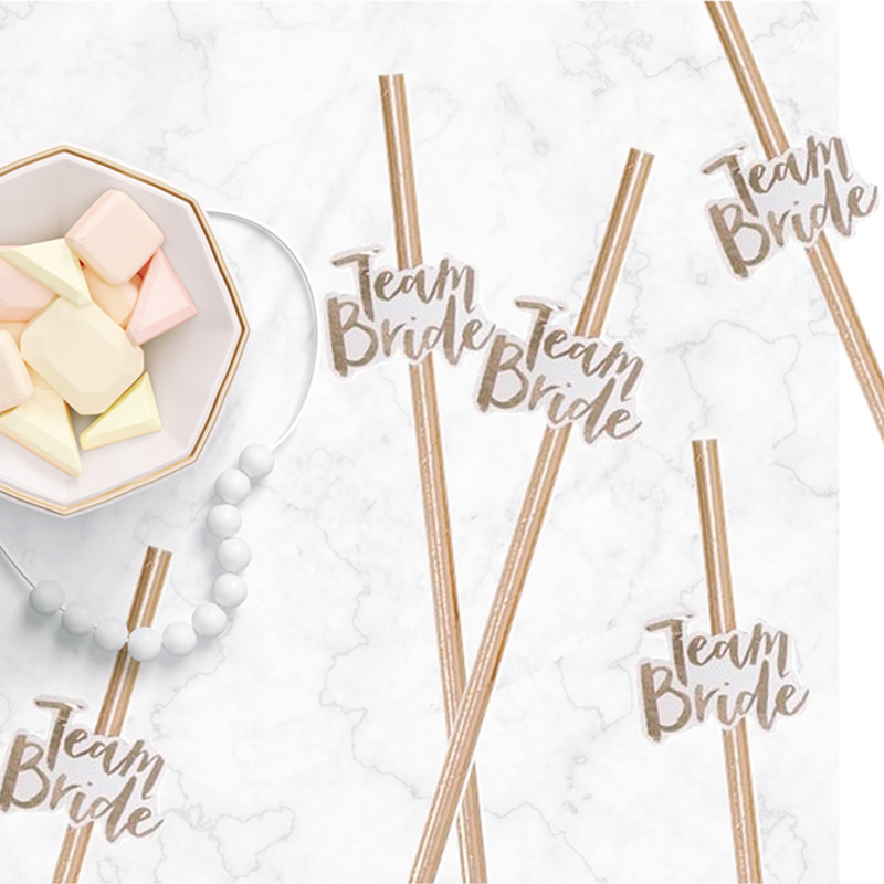 10pcs Team Bride Straws Rose Gold DIY Craft with Letter Hen Bachelorette Wedding Decoration Bride To Be Party Supplies (2)