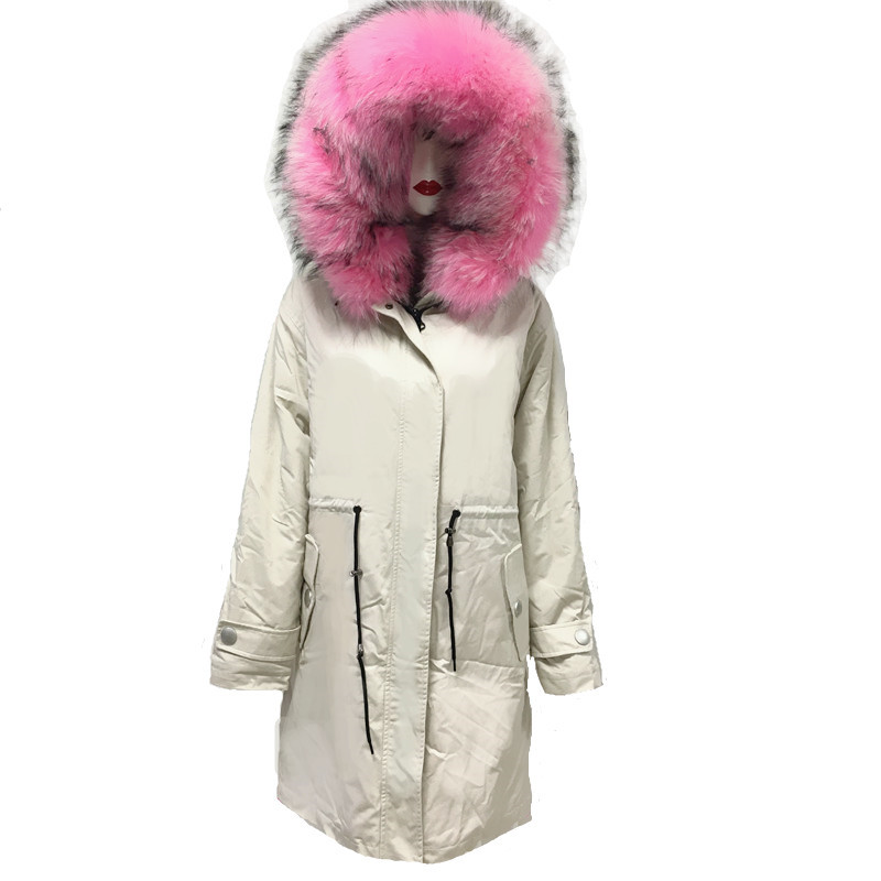 Rice White Long Coat For Men 2019 New Beautiful Pink Real Raccoon Fur Collar Jacket Can Be Custom Wholesale S-4XL