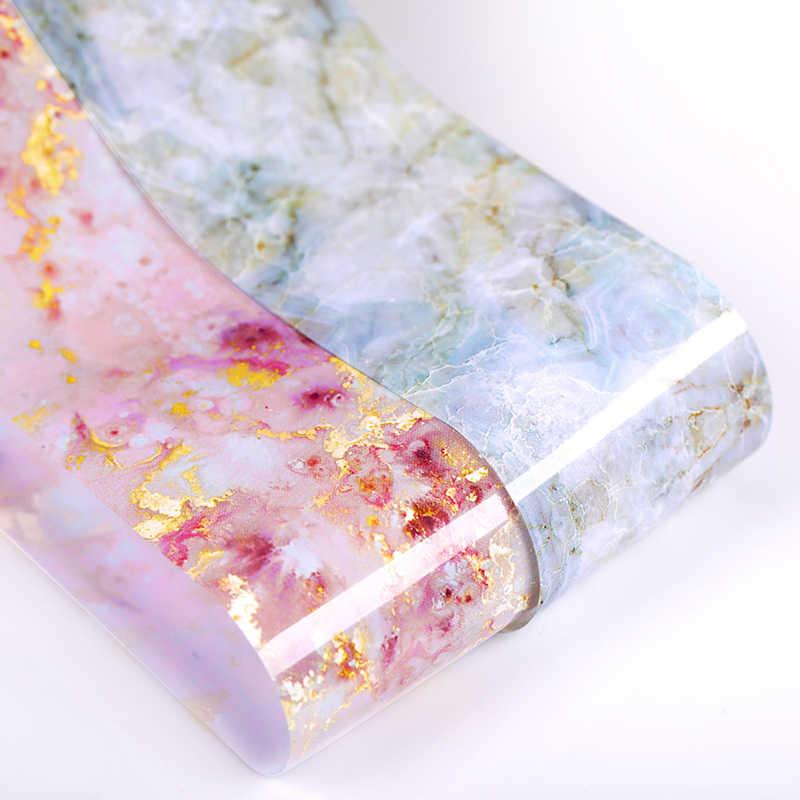 100/50X4Cm Nail Folies Marmer Serie Roze Blauw Folies Papier Nail Art Transfer Sticker Slide Nail art Decal Nagels Accessoires 1 Doos