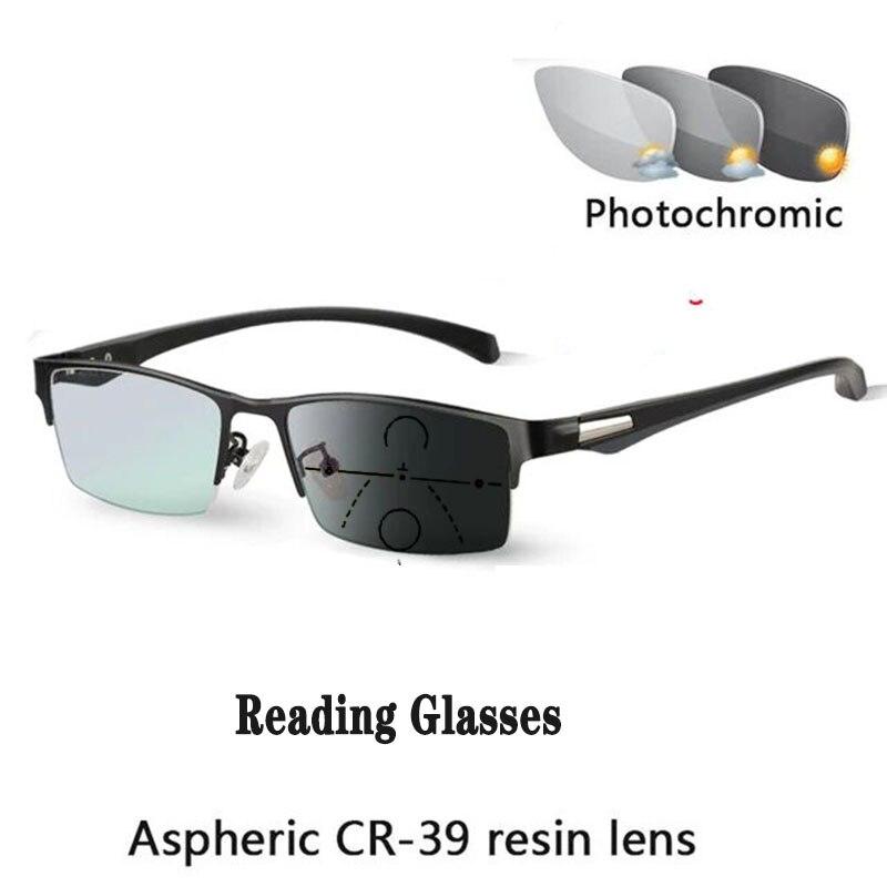 Bilgisayar yarım çerçeve ilerici okuma gözlüğü titanyum alaşımlı bahar menteşe çok odaklı otomatik ayar presbiyopik gözlük