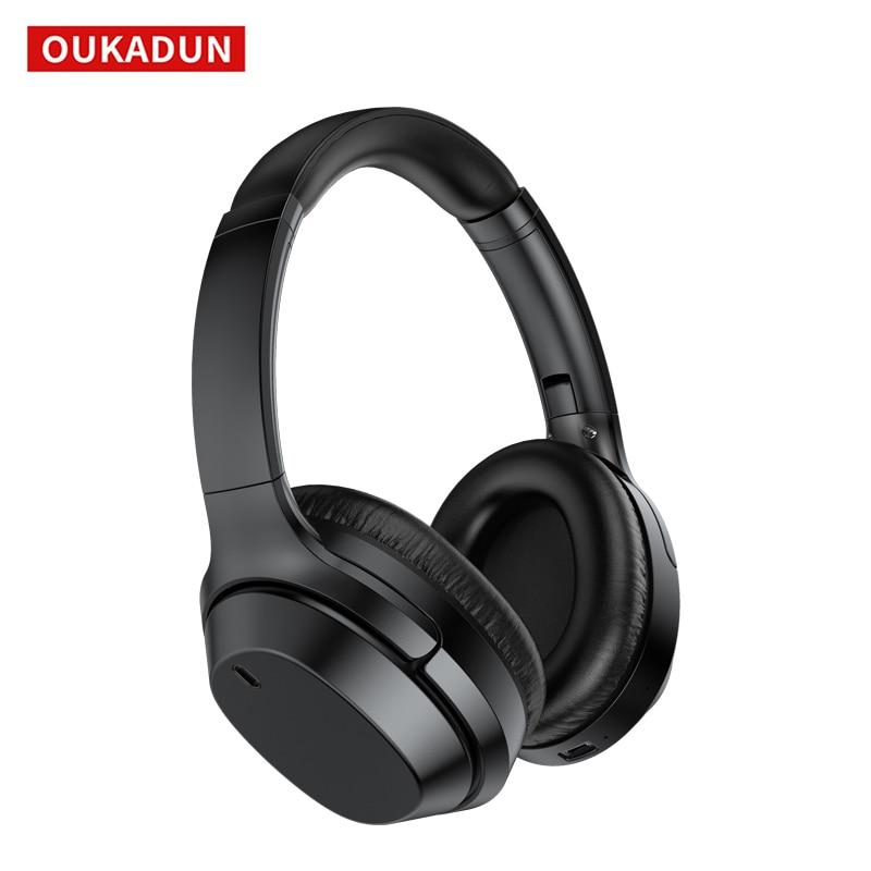Oukadun bluetooth 5.0 fone de ouvido com cancelamento de ruído ativo fone de ouvido sem fio, 55 horas de tempo de reprodução