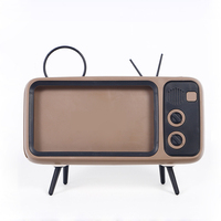LEORY Retro TV Stereo Bracket Movies Mobile Phone Speaker Music Player Audio Electric Portable Mini Wireless for iPhone Huawei