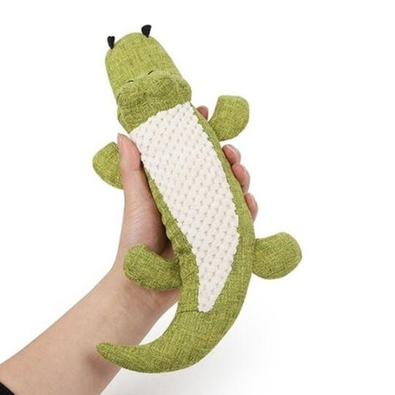 Pet Dog Toy Linen Plush Crocodile Animal Toy Dog Chew Squeaky Noise Toy Cleaning Teeth Supplies Toy Tough Interactive Doll 1PC 15