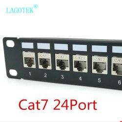 Panel de conexiones Cat7, 24 puertos, CAT7/CAT6a, Panel de conexiones FTP con protección completa, incluido. 24x Cat7 blindado keystone adaptador 1U 19 ''pulgadas