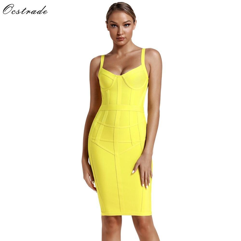 Robes de Bandage Ocstrade moulantes Vestidos 2019 nouveauté femmes rayé néon jaune robe de Bandage rayonne Sexy robe d'été de fête