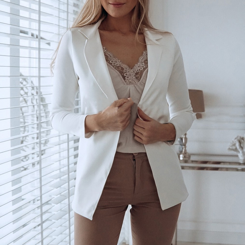 Suit Coat Women Blazers Jacket Business Long-Sleeve Female Casual Lady Monerffi Solid