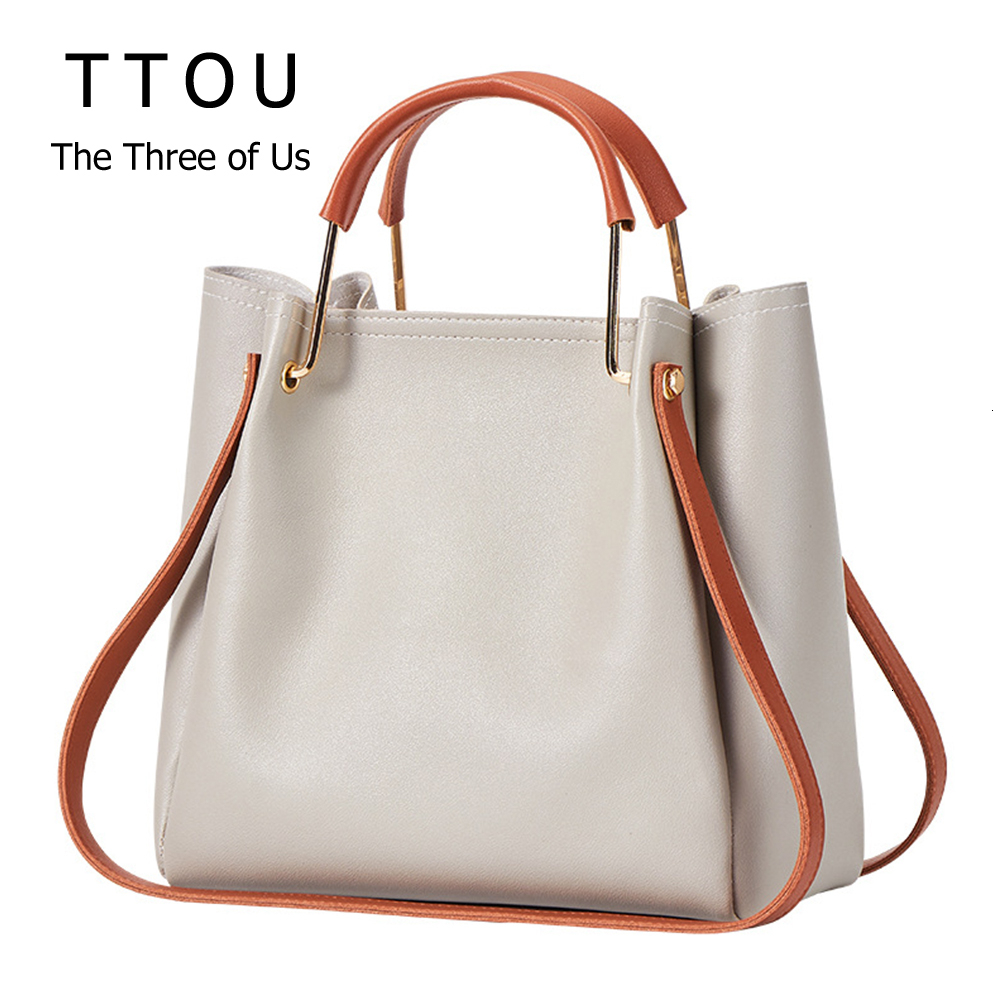 Hot Sale Women Handbags Large Capacity Femal Shopping Bag Solid Color Bucket Crossbody Bag Leather Ladies Office Shoulder Bag