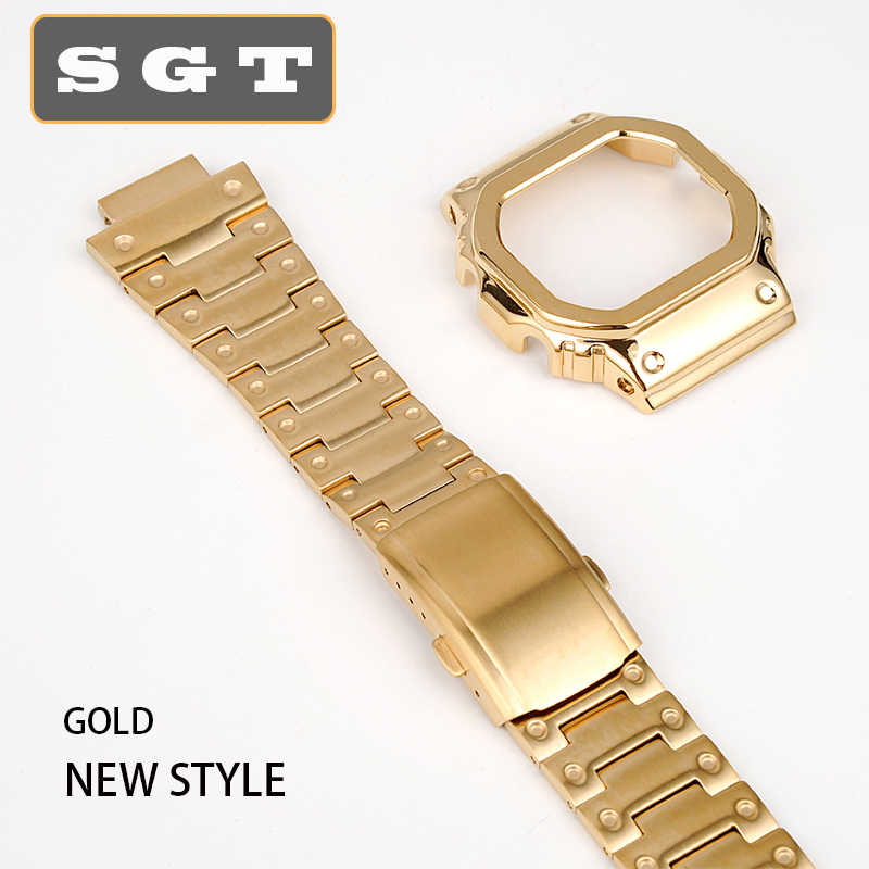 watchband Solid stainless steel for casio GW-M5610 DW5600 GW-5000 DW-5030 G-5600 watch band and frame case solid metal bracelet