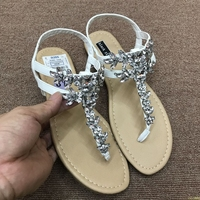 wedding women sandals flat summer crystal diamond big size plus slip on bridal white wide fit bling pearl toe ring shoes