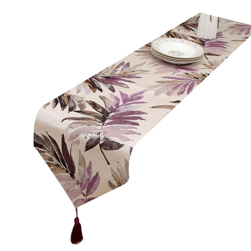 1pc Multi Color Leaves Table Runner With Tassels For Dining Table Decoration 13x63in