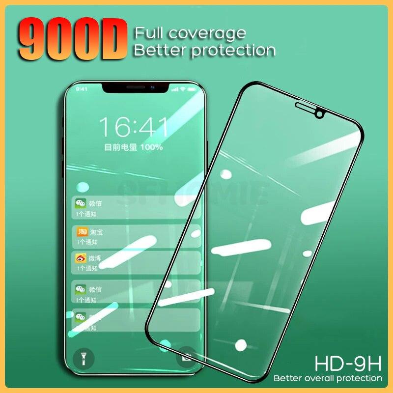 Vidrio templado de luz verde 900D para iPhone 11 Pro XS Max SE2 Protector de pantalla en iPhone 7 8 9 6 Plus XR vidrio Protector Artesanías de cristal personalizadas en miniatura con forma de corazón romántico, regalos de amor, accesorios de decoración para el hogar DIY
