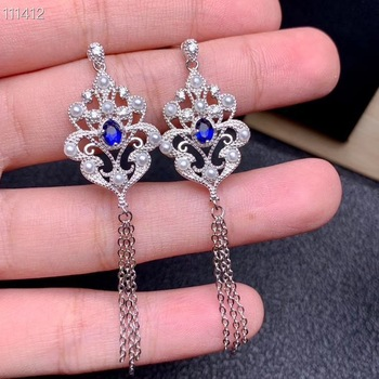 Luxurious evening banquet exclusive Natural sapphire Necklace beautiful, noble and dignified, 925 silver material.