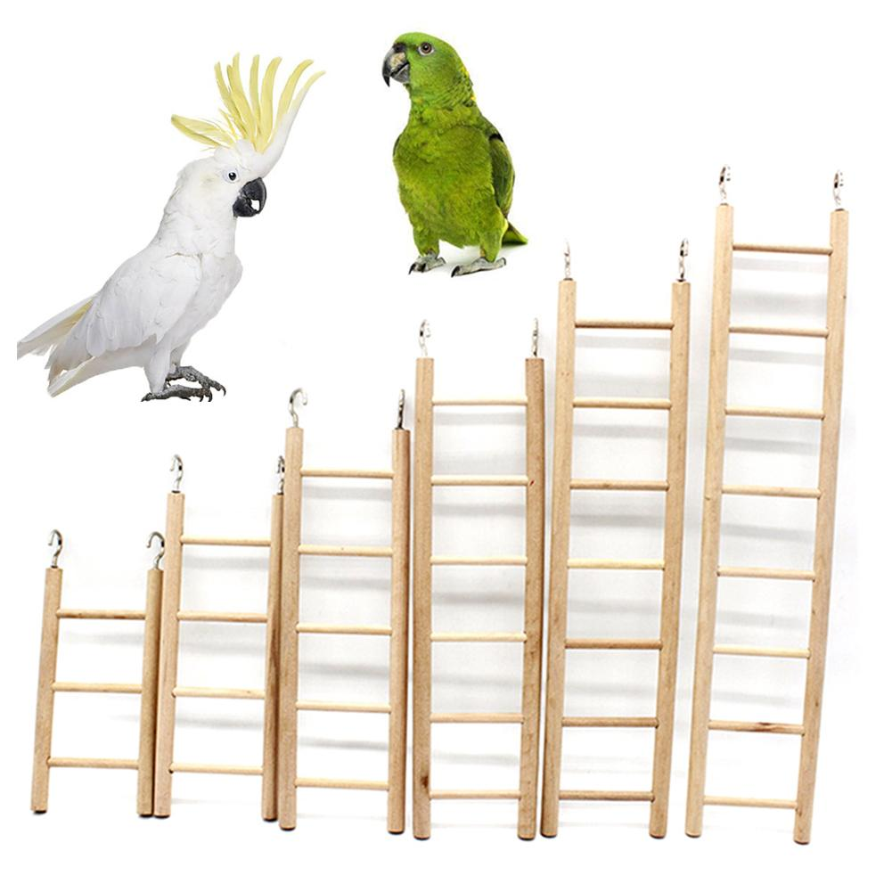 3/4/5/6/7/8 Steps Wooden Pet Bird Parrot Climbing Hanging Ladder Cage Chew Toy