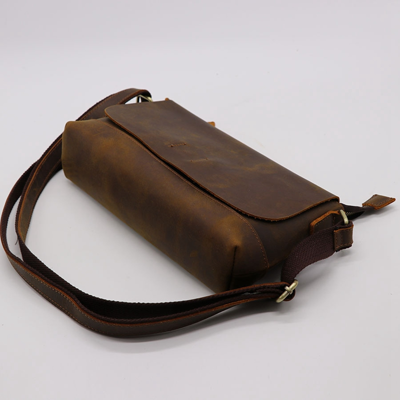 Crazy Horse cuir hommes bandoulière sac à bandoulière en peau de vache femmes sac Messenger sac cartable pour magasin voyage unisexe - 6