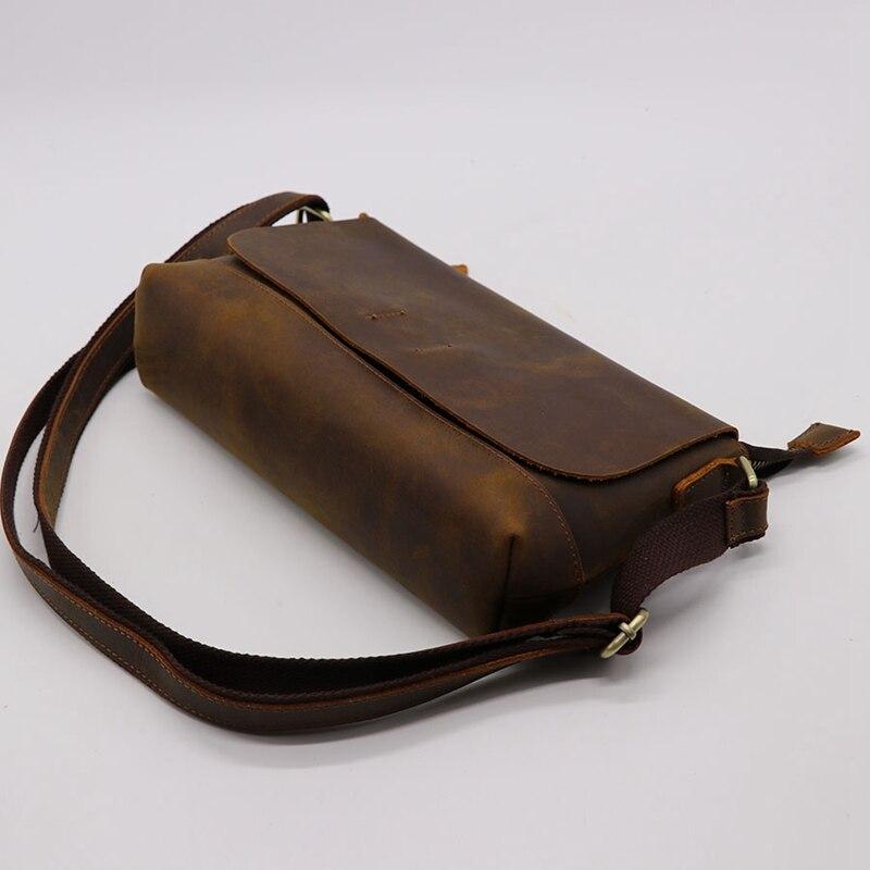 Crazy Horse кожаная мужская сумка через плечо из воловьей кожи женская сумка мессенджер Наплечная Сумка пакет для магазина путешествия унисекс - 6