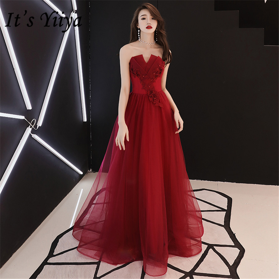 It's Yiiya Evening Dresses Burgundy Strapless Formal Dress Plus Size Elegant Embroidery Appliques Long Robe De Soiree E1391