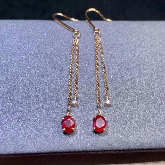 shilovem 18k rose gold real Natural ruby Gemstone drop earrings plant women fine new Christmas Gift 4*5mm  de0405881h 1