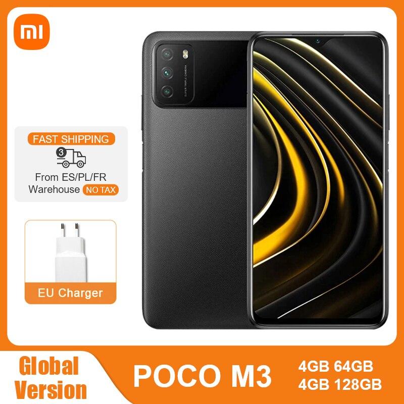 Глобальная версия POCO M3 4GB 64GB / 128GB Смартфон Snapdragon 662 Octa Core 48MP тройной Камера 6,53