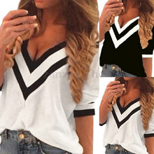 Women Summer Striped Sleeve Deep V Neck Pullover Shirt Ladies
