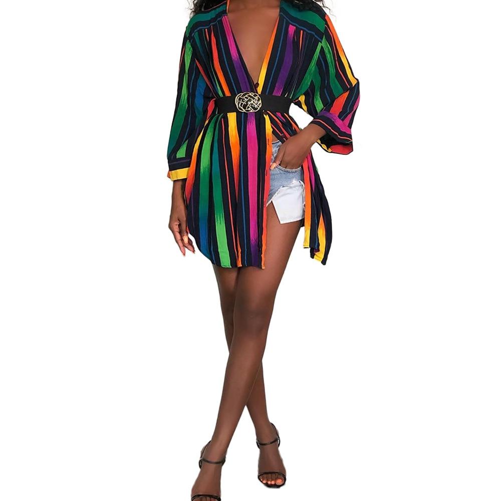 Echoine Long Sleeve Colorful Striped Print Shirt Blouse Sexy Elegant ladies tops Dress Autumn Chic Vintage Top