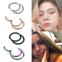 1pc Stainless Steel Nose Ring Hoop Clicker Septum Piercing Lip Earrings Segment Hinged Cartilage Tragus Ear Rings Body Jewelry 316l stainless steel segment ring body piercing nipple tragus lip ear nose cartilage septum hoop jewelry