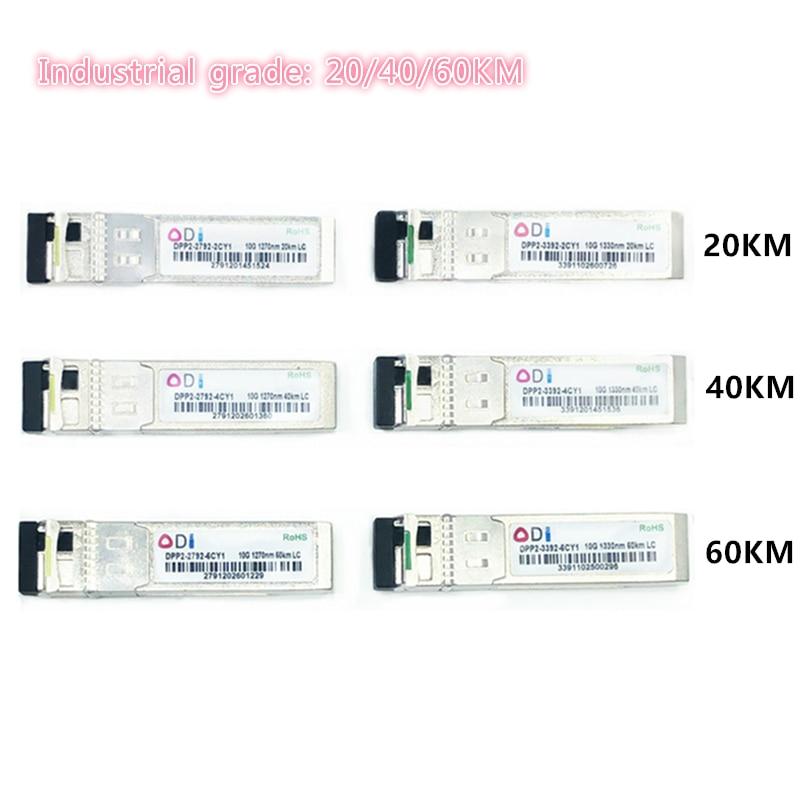 SFP 10G LC 20/40/60KM 1270nm/1330nm Single Fiber SFP Optical Module SFP Transceiver Industrial Grade -40-85 Celsius For Switch