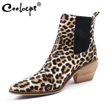Coolcept Women'S High Heels Ankle Boots Winter Autumn Fashion Leopard Western Cowboy Boots Brand Designer Shoes Women Size 34-43