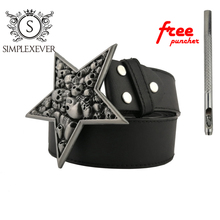 Vintage Stylish Skull Head Men' Belt Buckle Silver Metal Belt Buckle Clothes Accessories Withe Leather Belt stylish automatic buckle classical checked pattern coffee color belt for men