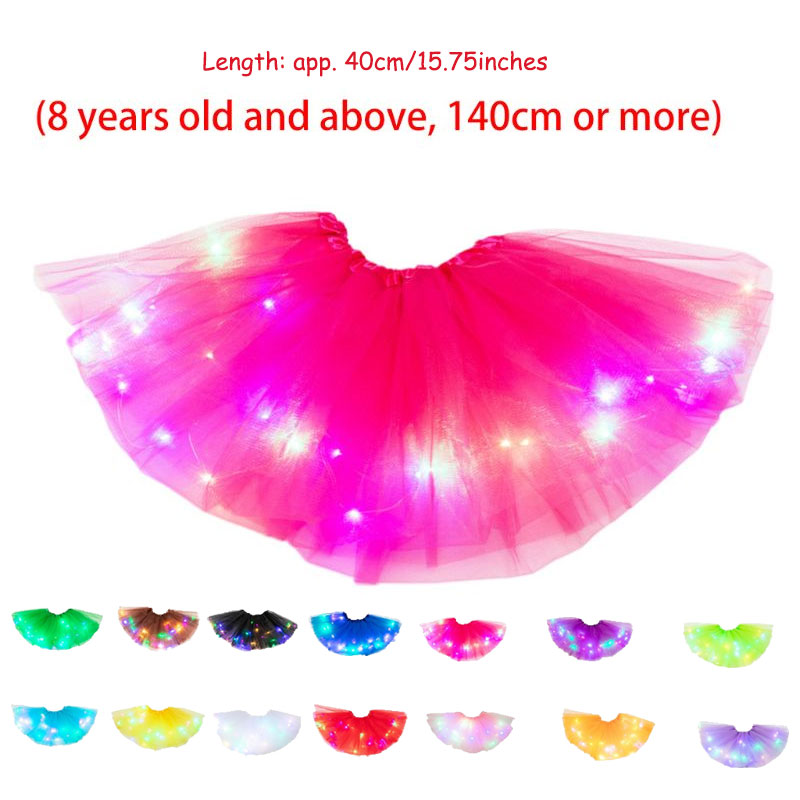1PC Women Girls Neon LED Tutu Skirt Party Stage Dance Wear Pleated Layered Tulle Light Up Short Dress For More Than 8 Years Old