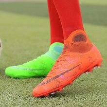 أطفال أحذية كرة القدم كرة القدم الرجال عالية أفضل التدريب AG الوحيد في الهواء الطلق المرابط أحذية كرة القدم سبايك عالية الكاحل الرجال Crampon الأحذية