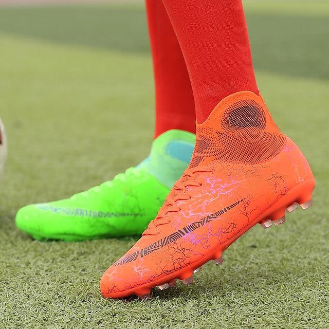 Crianças sapatos de futebol dos homens de alta formação superior ag sola ao ar livre chuteiras sapatos de futebol pico alta tornozelo homens botas crampon