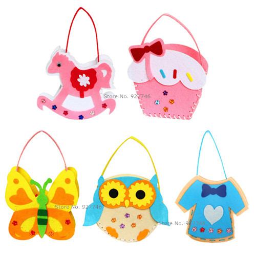 5 Pcs Lot Girls Toys DIY Bag Non-woven Fabric Hand Bag Cartoon Creative Materials In Kindergarten Baby Kid Hand Made Toy BS63