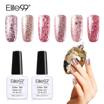 Elite99 Professionelle Diamant Glitter UV Nagel Gel Polish 10ml Rose Pailletten Gel Lang anhaltende Bling Nagellack Maniküre kunst Werkzeug