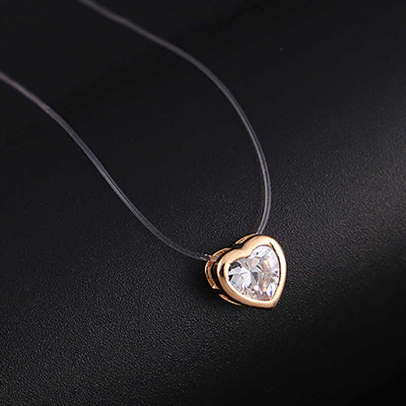 Transparent elastic line AAA class zircon necklace love heart choker Necklace best gift for women
