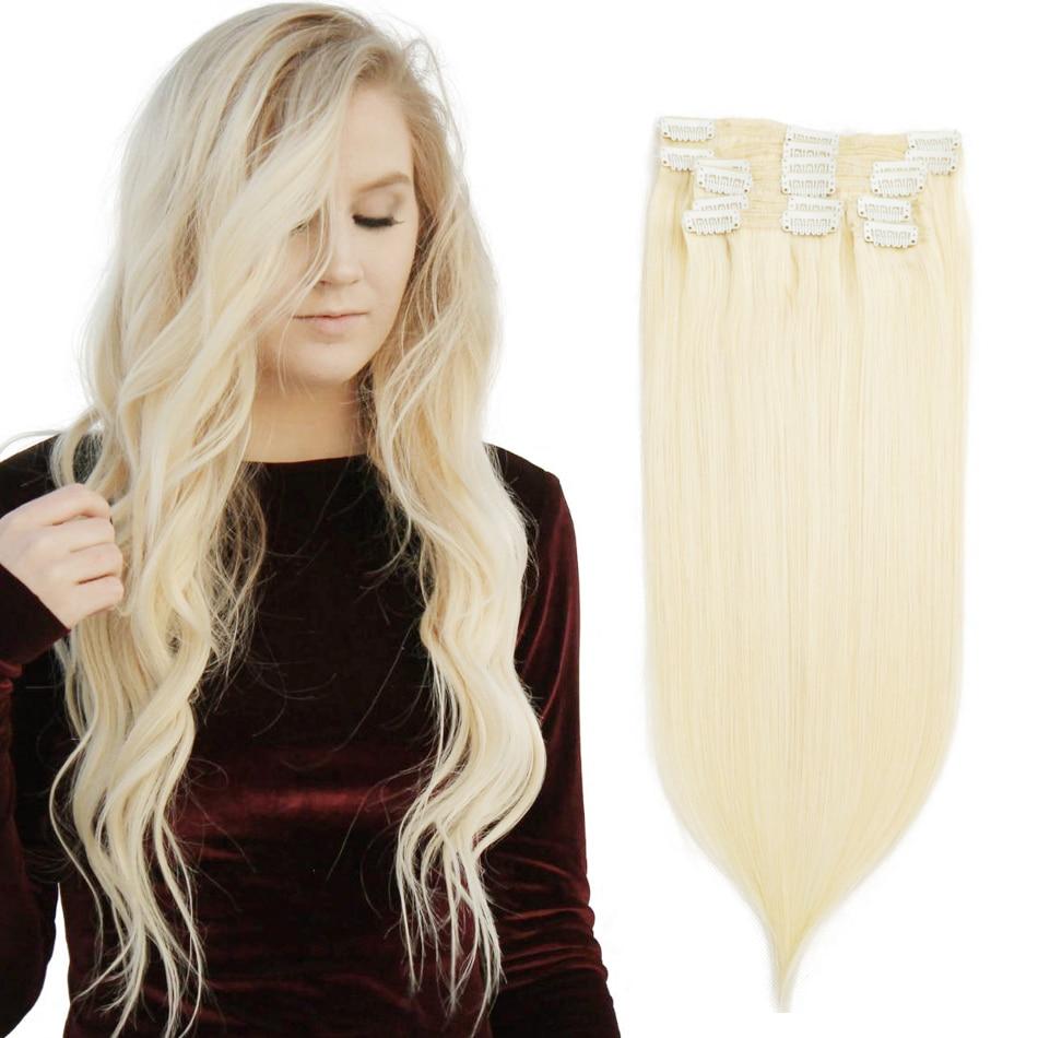 Isheeny 8 pçs/set Remy grampo da extensão do cabelo Sem Costura Extensões Grampo de Cabelo Humano Natural Brasileiro Cabeça Cheia Puro Clipe Ins