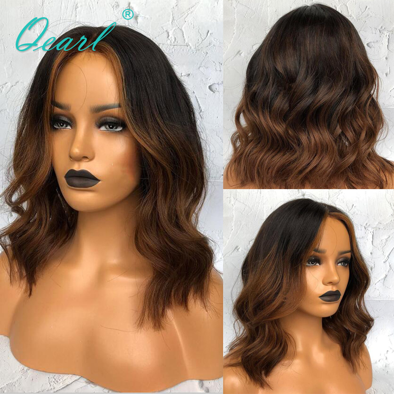 Ombre Lace Front Wigs Short Human Hair Wig With Baby Hair 1b/brown Highlights Color Wavy 13x4/13x6 Bob Wigs Remy Hair Qearl