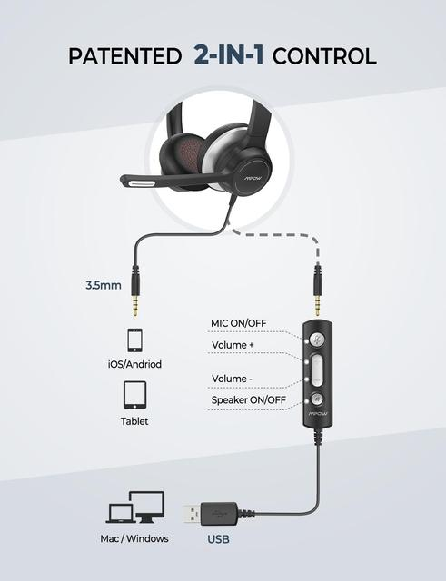 Mpow BH328 Office Headset Lightweight 3.5mm USB Computer Headset Noise Reduction Headphone for Call Center Skype PC Cellphone 2