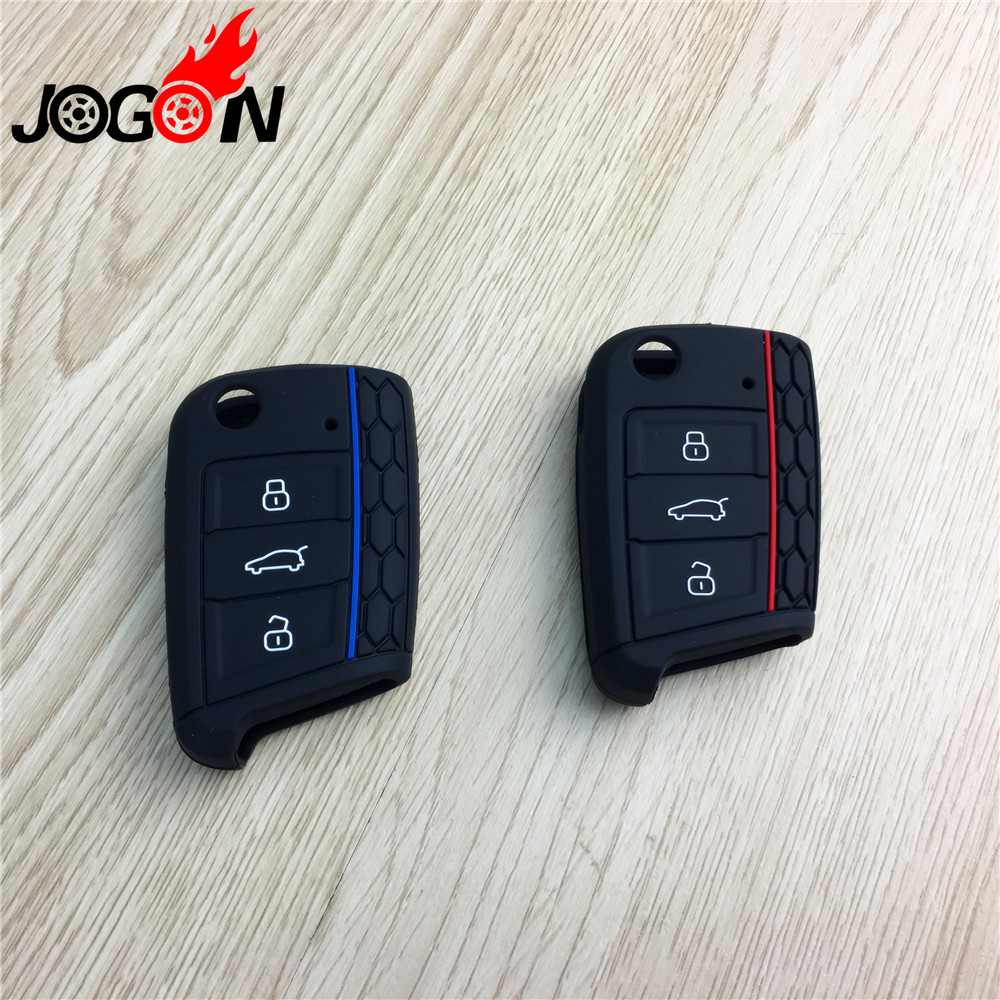 3 Button Car Key Case Key Fob Case Cover Trim Rear Silicone Remote Key Case for VW Golf 7 GTI for Volkswagen Golf 7 MK7 Golf 7 5