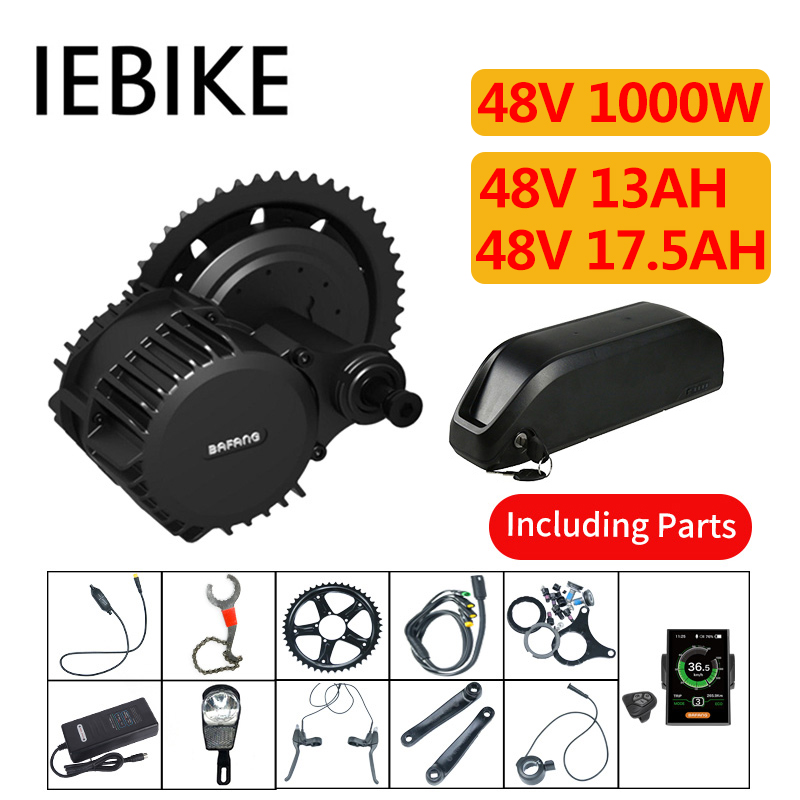 48V 1000W Bafang Electric Bike Conversion Kit with Battery BBS Mid Motor Set for Bicycle E Bike Conversion Kit for Mountain Bike
