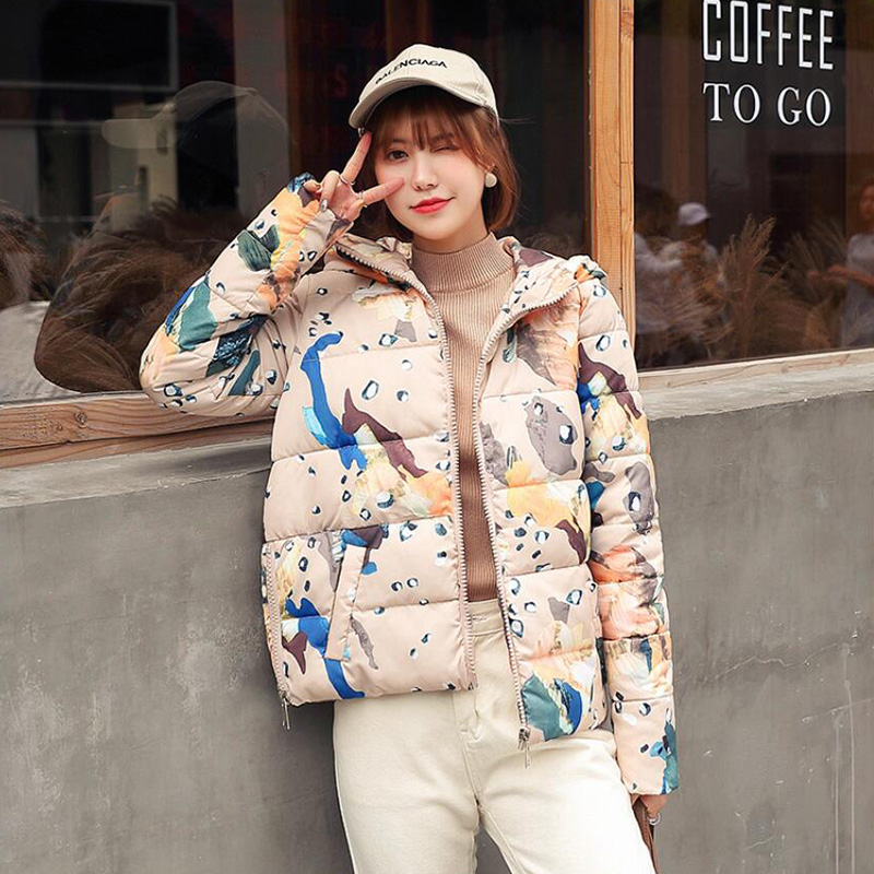 KISBINI   Parka   Winter Women's Jacket Coats Plus Size White Duck Down Hooded Coat Warm Thick Printing Women Clothes Outerwear 2019