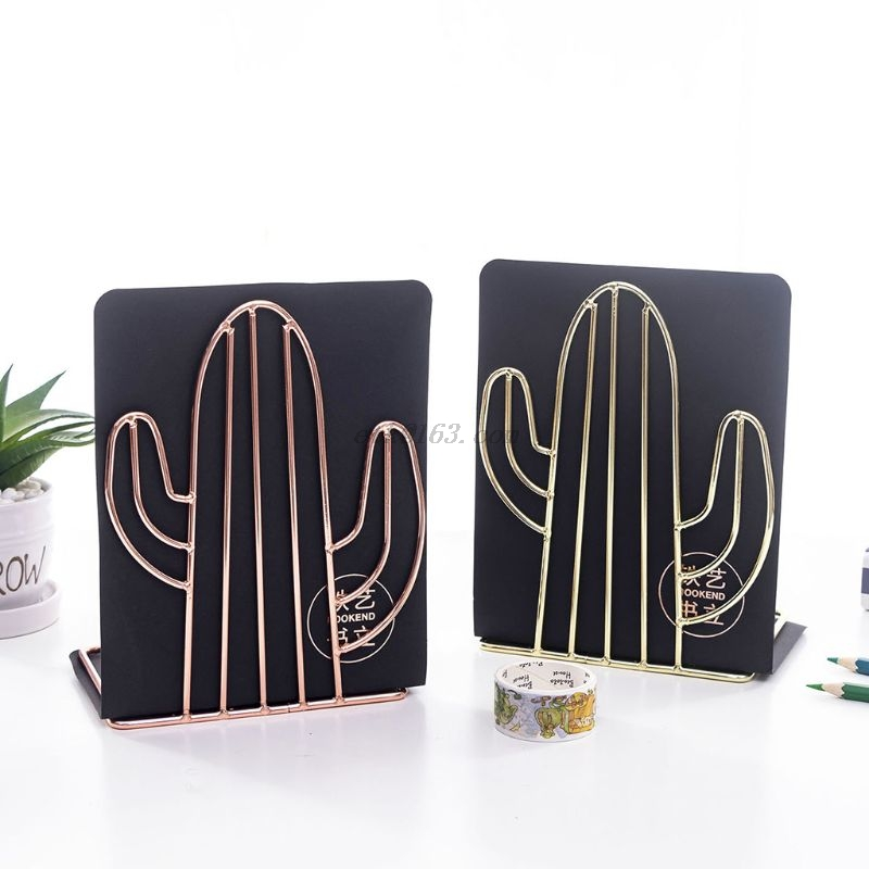 2PCS/Pair Creative Cactus Shaped Metal Bookends Book Support Stand Desk Organizer Storage Holder Shelf 5